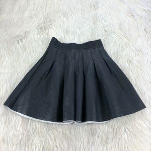 NWT H&M Black Faux Leather Pleated Circle Skirt